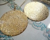 Round earrings, circle, gold plated, vermeil, brass gold, Brass earrings,dangle, long, brass jewelry, pressed,