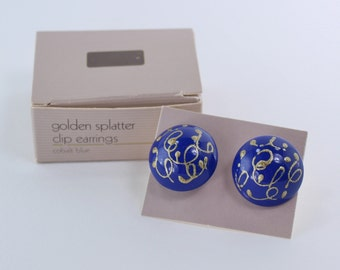 SALE 50 PERCENT Off Vintage 1986 Avon Golden Splatter Royal Blue Glitter Puffy Paint Domed Round Button Clip On Earrings in Original Box NIB