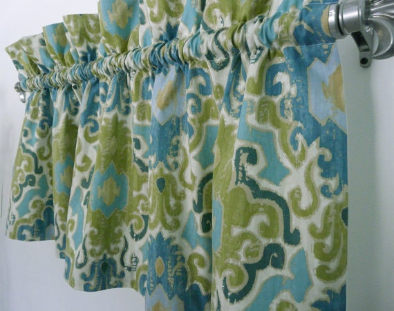 Modern green blue damask valance for kitchen living or - Green and turquoise curtains ...
