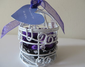 Mini Bird Cage wedding favors, table decoration  - available in custom colors - Kisses from the Mr. & Mrs.