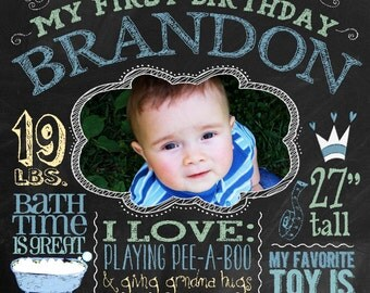 Large Birthday Canvas with Photo | Custom Art on Canvas, First Birthday, Baby Gift