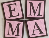 Pink and Brown Baby Girl Nursery, Name Wall Letters Room / Wall Decor, 6 x 6 Personalized Wooden Plaques, Baby Girl Shower Gift Ideas