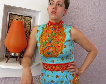 1960s Vintage Paganne Hippie Print Cotton Jersey Dress medium
