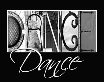 DANCE Alphabet Photography Letter Photos - with whimsical text (various sizes)