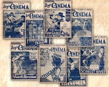 Cowboy Movie Magazine Covers Digital Collage Sheet Old Boy's Cinema 1930s Films Hollywood Westerns 30s Retro Boy Fan Wild West Serials 571