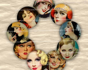 Hollywood Film Stars Movie Stars Digital Collage Sheet Starlets Circles 20s 30s Twenties Thirties for DIY Buttons Pendants Jewelry 581