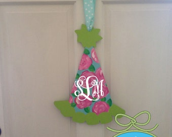 Wooden Hand Painted Birthday Hat Door Decor Wall Hanging Free Monogram or Personalization