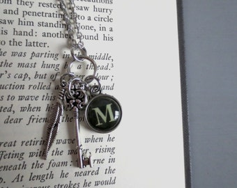 Signet - Typewriter Key Letter Necklace; M O U Q X Silver Initial Monogram Personalized Custom Pendant (All Letters Available) by InfinEight