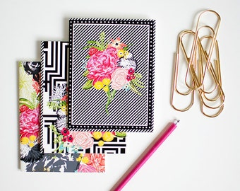 MODERN ECLECTIC mini blank notebook jotter three pack