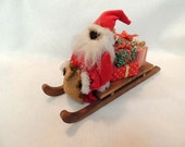 Vintage Hand Crafted Christmas Decor.. BLACK SANTA On Sleigh With Gifts
