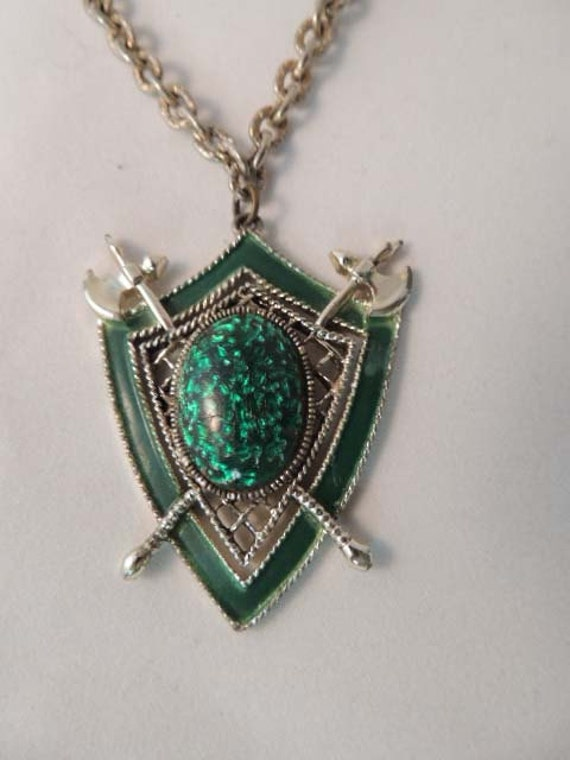 Vintage Enameled Chunky Gothic STEAMPUNK PENDANT NECKLACE.. Shield & Axes