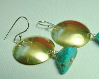 Mixed Metal Brass Silver Turquoise Earrings Large