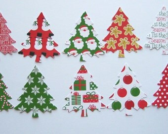 20 Large  Evergreen Christmas Tree punch die cut embellishments E1538