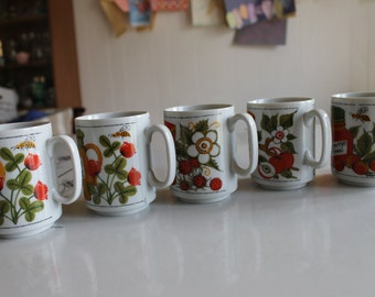 Vintage Set of 5 Coffee Mugs/Tea Cups Clover Honey, Crab Apple, & more CUTE