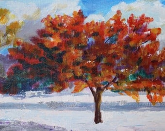 Fall Landscape Painting - Original Painting Acrylic - Small Autumn Leaves Tree - Snow Landscape - Wall Art - Fine Art Home Decor