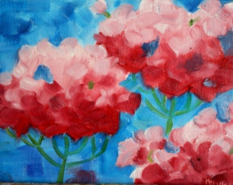 Abstract Painting Geranium Oil Painting Pink Geranium