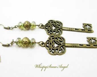 Steampunk Bronze Key Earrings Green Brown Picasso Czech Rondelles Long Dangle Earring Fantasy Fairy