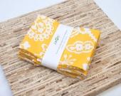 Large Cloth Napkins - Set of 4 - (N1688) - Yellow Flower Modern Reusable Fabric Napkins