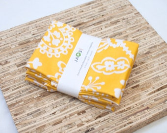 Large Cloth Napkins - Set of 4 - (N1688) - Yellow Flower Modern Reusable Fabric Napkins