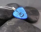 Blue Pick-shaped Guitar Pendant