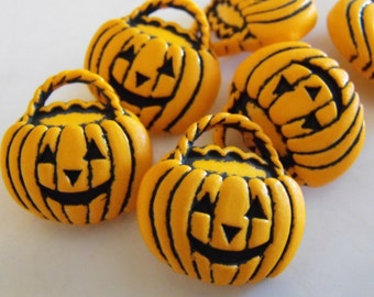 6 Orange Pumpkin Basket Shank Buttons