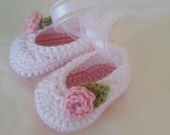 Crochet Baby Ballet Slippers-Infant Silppers-Baby Photo Prop-Newborn Ballet-Newborn to 12 Months