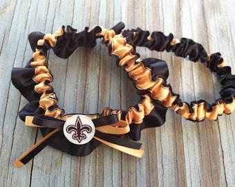 New Orleans Saints Inspired Bridal Satin Wedding Garter Black & Gold Keepsake Or Garter SET Football