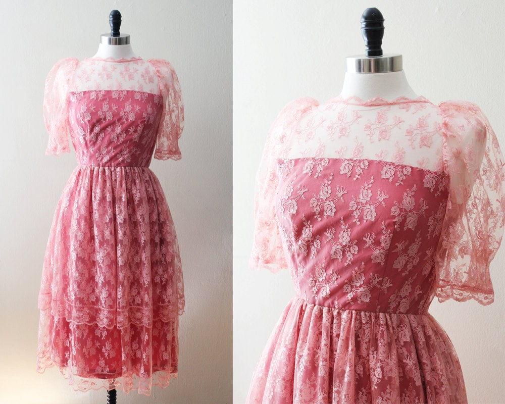 Vintage Lace Dress 60s Pink Lace Dress 50s Lace Overlay