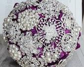 Vintage Bridal Brooch Bouquet - Pearl Rhinestone Crystal - Silver Amethyst Dark Purple - One Day RUSH ORDER Available - BB008LX