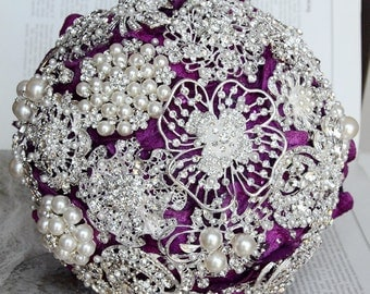 Vintage Bridal Brooch Bouquet - Pearl Rhinestone Crystal - Silver Amethyst Dark Purple - One Day RUSH ORDER Available - BB008LX