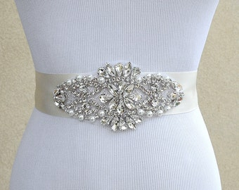 Bridal Sash Belt Wedding Dress Sash Belt Rhinestone Wedding Sash Belt Rhinestone Sash Belt Ivory Ribbon SA022LX