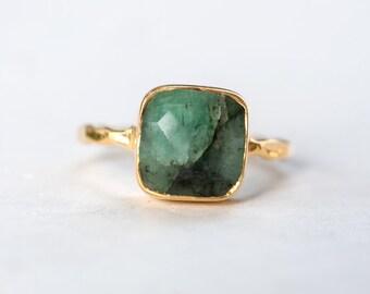 40 0FF - Raw Emerald Ring - May Birthstone Ring - Gemstone Ring - Stacking Ring - Gold Ring - Stacking Ring