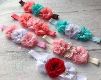 Baby Flower Headband- Baby Headband- Baby Girl Headband- Newborn Headband