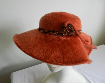 Vintage 1950s Copper Sculpted Brim Fur Felt Platter Hat