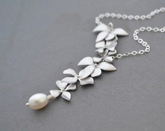 Elongated Wild Orchid Necklace, White Freshwater Pearl, Sterling Silver Chain, Wedding Jewelry