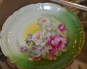 Hand Painted Rose Floral Vintage Plate
