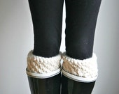 Knit Boot Cuffs Leg Warmers/ Fisherman/THE NORTHWEST TOPPERS