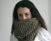 Knit chunky Scarf Cowl -- Barley --The Grotto Cowl