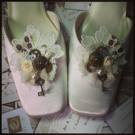 Bridal Shoes Alternative: Shoe Clips Steampunk Rockabilly Alternative By OohLaLaBoudoir