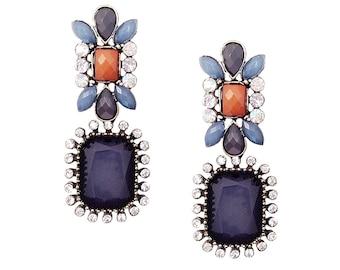 Statement Modern Flower Earrings Blue Slate Multi Color-blocking & Rhinestones Boho Resort New York Chic Spring Summer Style 2016 Fashion