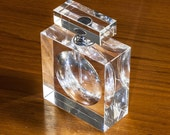 Square Optical Glass Perfume Bottle with Dipper