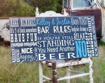 Man Cave Sign Bar Rules Sign on Wood Bar Sign, Man Cave Decor, Gift For Him, Man Cave Rules, Wall Art, Pub feel and Beer Sign Outdoor Patio