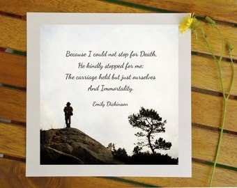 Emily Dickinson quote print, poetry poster, Because I couldn't stop for Death, 8x8 inches