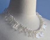 Modern Laser Cut Necklace  Minimalist Bold Statement Necklace Clear Acrylic Bride Bridal Wedding