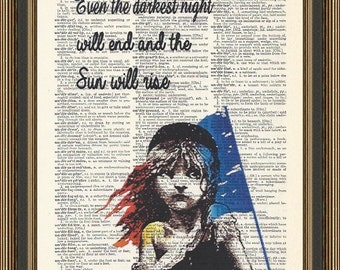 "Les Miserables inspired with inspirational quote ""the Sun will Rise"" illustration is printed on a vintage dictionary page. Birthday gift."