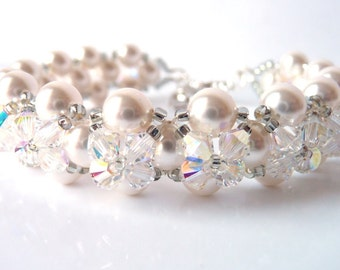 Bridal Bracelet, Pearl Bracelet, Crystal Bracelet, Bridal Jewelry Pearl, Wedding Jewelry, Bridal Accessories, Swarovski Jewelry