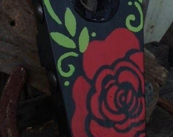 Hand painted Red Rose Boot Jack.