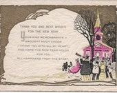 New Years 1929 Thank you for New Years Wish Card