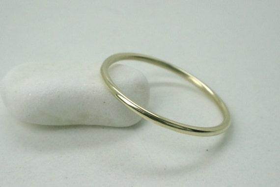 1mm 14k yellow gold wedding band stacking ring