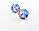 Galaxy Stud Earrings - Purple Blue Nebula Earrings - Cosmic Galaxy Earring Studs - Space Jewelry - Nebula Space - Stars